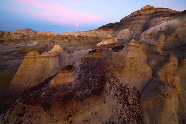 The Grand Landscape Illuminated By Full Moon -  Bisti/De-Na-Zin Wilderness, New Mexico