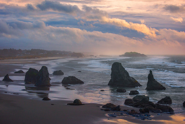 Looknig Down On Bandon Beach During Changing Of Weather