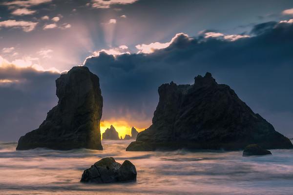 A Burst Of Warmth Below The Clouds - Bandon Beach, Oregon Coast