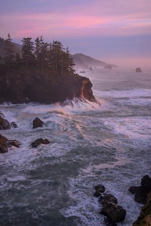 Look Down Coast With Twilight Pinks - Samuel Boardman State Park, Southern Oregon Coast