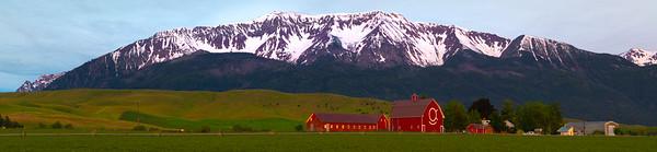 Smiley Barn And Wallowa Mountains_Pano Wallowa County, Oregon