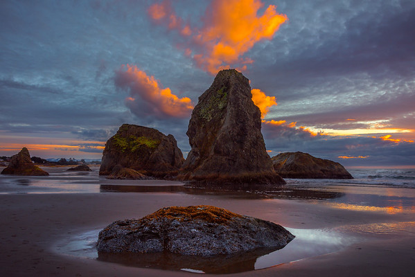 Tidepool Rocks On Bandon Sunset