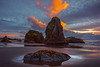 Tidepool Rocks On Bandon Sunset