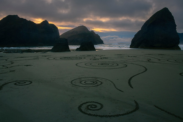 Patterns Drawn Into The Beach