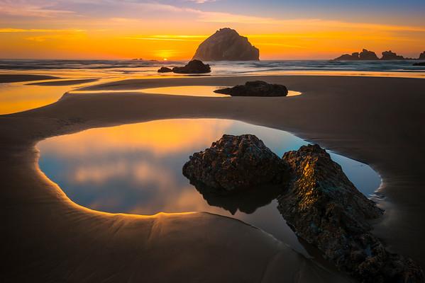 Tidepool Sunset Reflections - - Bandon Beach, Oregon Coast, Oregon