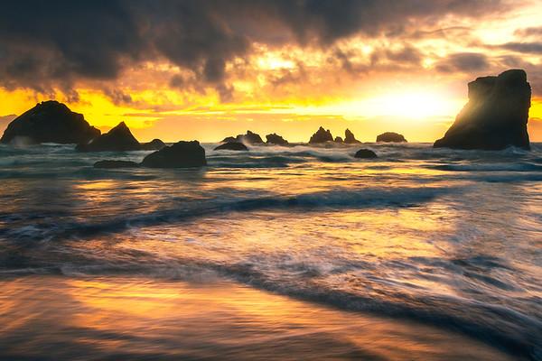 Sun Streaming Through The Parted Clouds - Bandon Beach, Oregon Coast