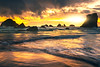 Sun Streaming Through The Parted Clouds - Bandon Beach, Oregon Coast