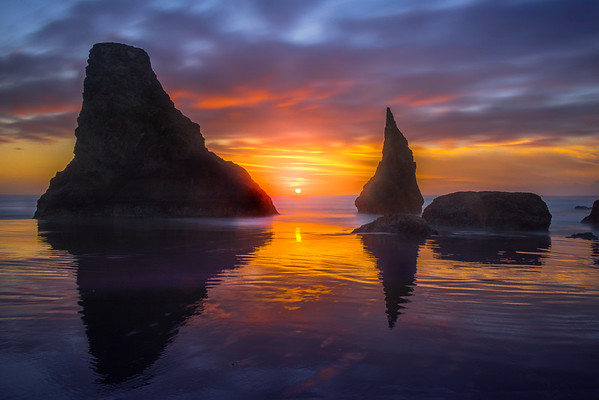 Sun Glow Behind Bandon Sea Stacks - Bandon Beach, Southern Oregon Coast, OR