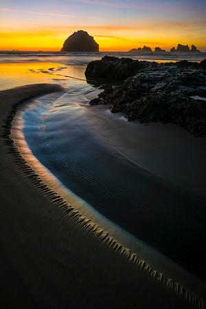 Follow The Light Around The Bend - - Bandon Beach, Oregon Coast, Oregon