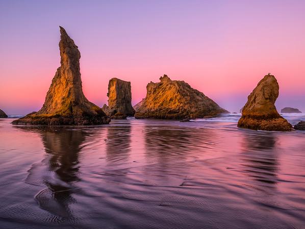 Pink Pastels At Low Tide - - Bandon Beach, Oregon Coast, Oregon