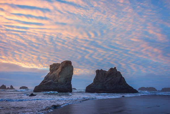 Unique Clouds Turning Red - Bandon Beach, Southern Oregon Coast, OR