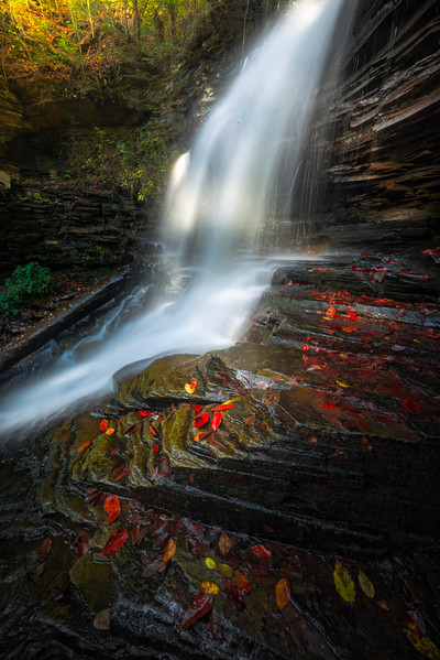 Late Afternoon Light Breaking Through On Fall Cascades-Ricketts Glen State Park,  Benton, Pennsylvania