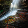 Late Afternoon Light Breaking Through On Fall Cascades-Ricketts Glen State Park,  Benton, Pennsylvania