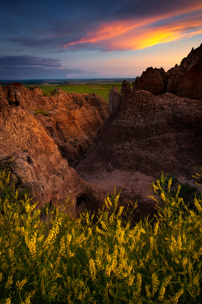 Late Light Into The Canyon Walls - Badlands National Park, South Dakota