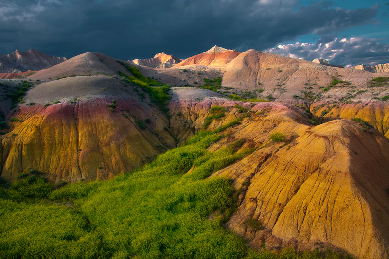 Larger Than Life Rocks Reflecting Last Light - Badlands National Park, South Dakota