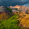 Larger Than Life Rocks Reflecting Last Light - Badlands National Park, South Dakota