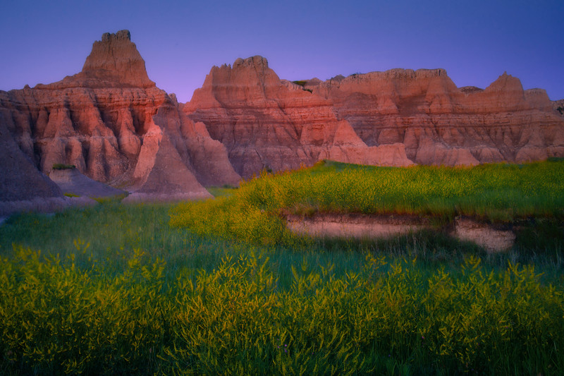 Morning Glow On The Badland Peaks - Badlands National Park, South Dakota