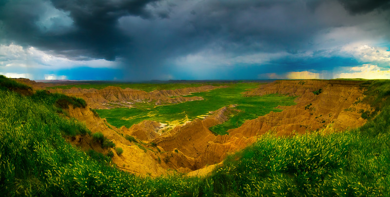 Pano Of Overview Lookout - Badlands National Park, South Dakota