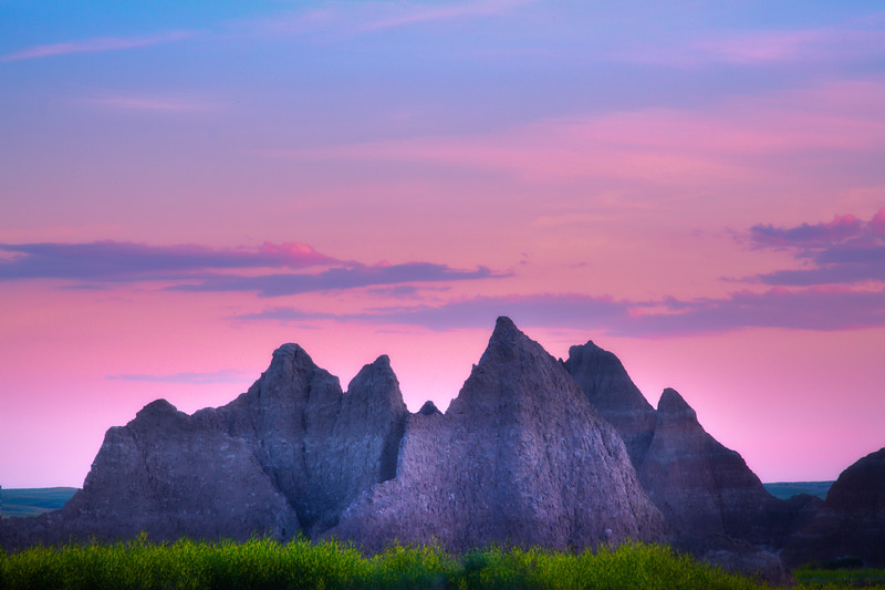 Pink Dusk Over The Badlands - Badlands National Park, South Dakota