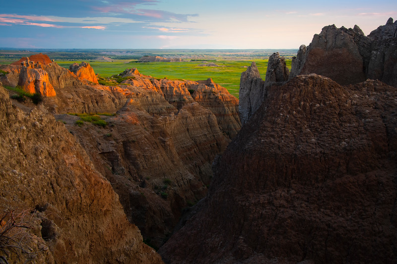 Sunset Glow Over The Plains - Badlands National Park, South Dakota