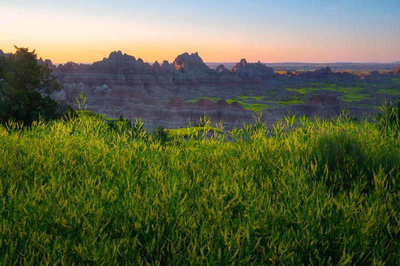 Morning First Light On The Badland Peaks - Badlands National Park, South Dakota