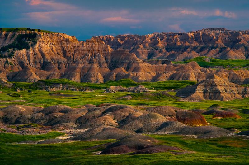 Badlands In Spotlight Before Sunset - Badlands National Park, South Dakota