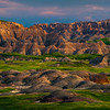 Badlands In Spotlight Before Sunset - Badlands National Park, South Dakota