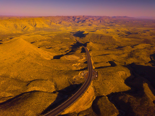 Highway S-Curves Through The Guadalupe Mountains - Guadalupe Mountains National Park and Chihuahuan Desert, West Texas