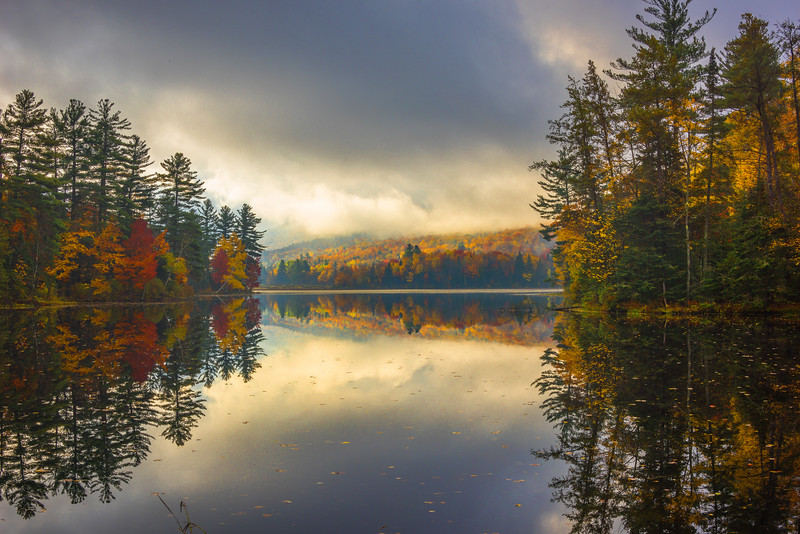 The Fog Lifts As The Scene Begins To Appear - Vermont