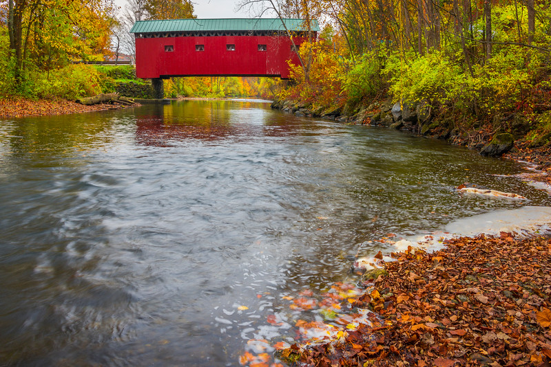Arlington Covered Bridge Down From The Creek - Vermont
