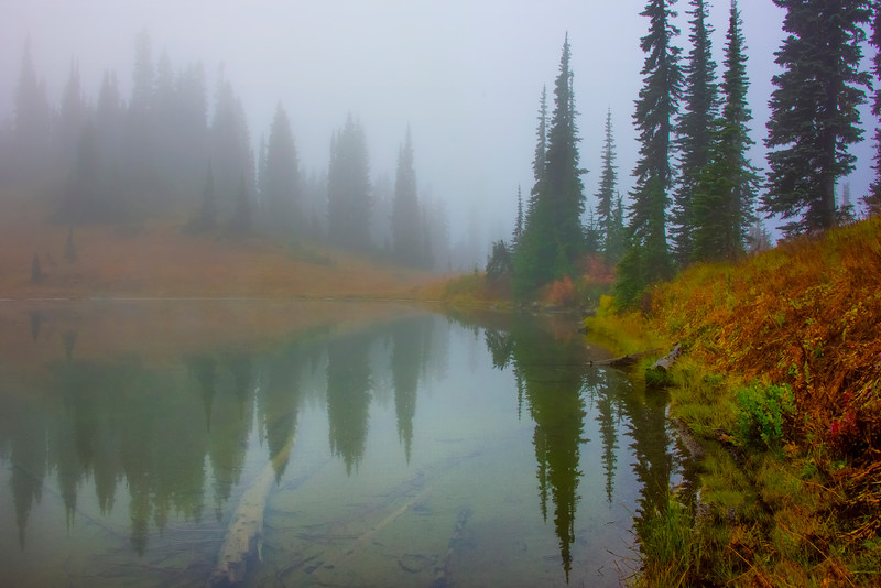 Autumn Mist Reflections -Mount Rainier National Park, Washington
