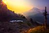 Reflection Lakes Below And Sunburst Pinnacle Peak Area, Mount Rainier National Park, WA