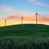 Sunfire Above The Wind Turbines -The Palouse, Eastern Washington