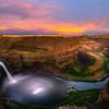 Palouse Falls Pink Sunset Wide Angle - Palouse Falls State Park, Washtuchna, Palouse, WA