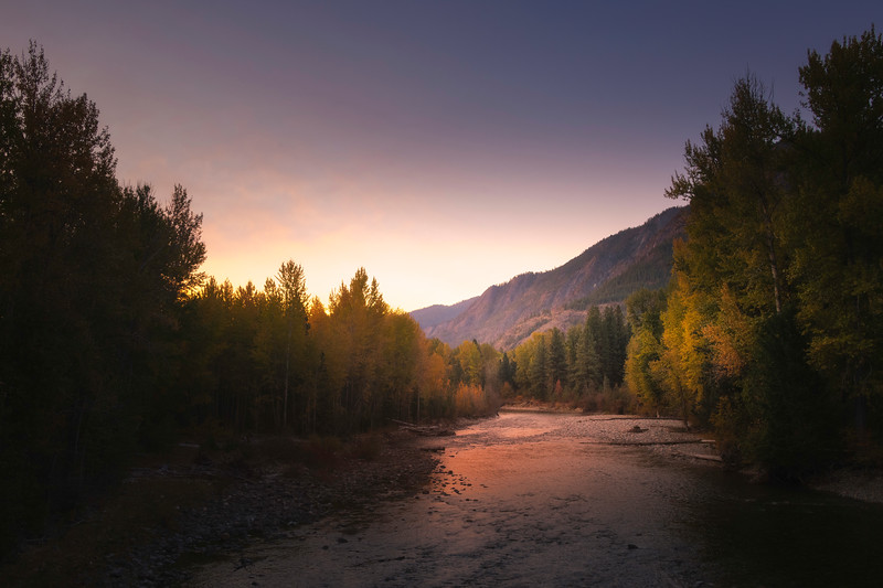 Looking Down Methow River At Sunrise - Methow Valley, Washington State