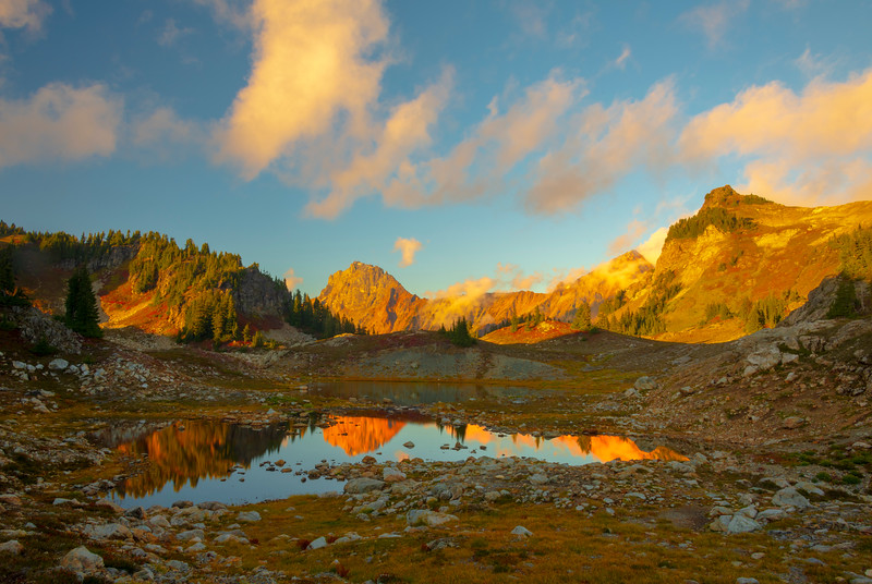 Reflections Of Late Light In Summer Tarns - North Cascades National Park, WA