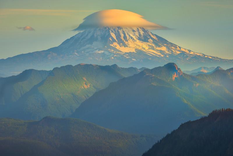 Mount Adams And Lenticular Cloud Pinnacle Peak Trail, Plummer Peak, Mt Rainier National Park, WA