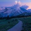 Twilight Moon Under Rainier -Sunrise Side, Mount Rainier National Park, Washington