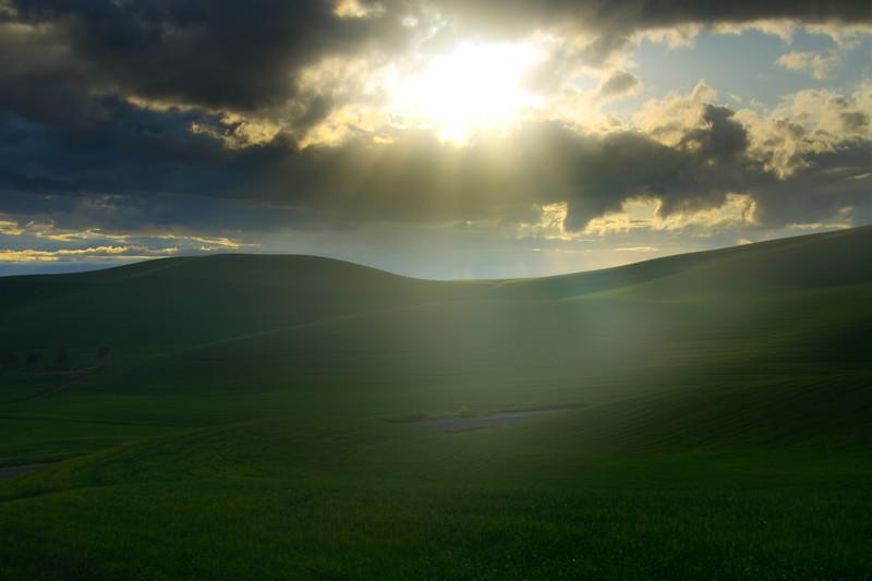 Sunburst Sunglow Over The Palouse Hills - The Palouse Region, Washington