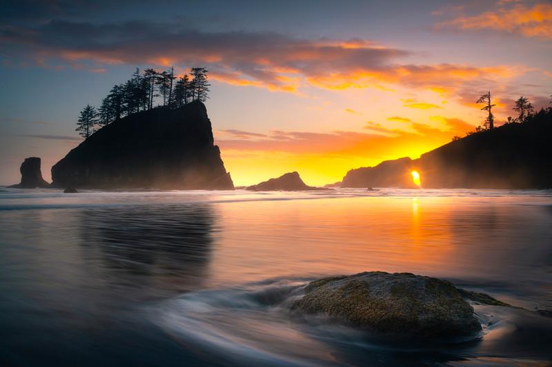 Sunset Sunburst Through Second Beach Hole - Second Beach, Olympic National Park, Washington