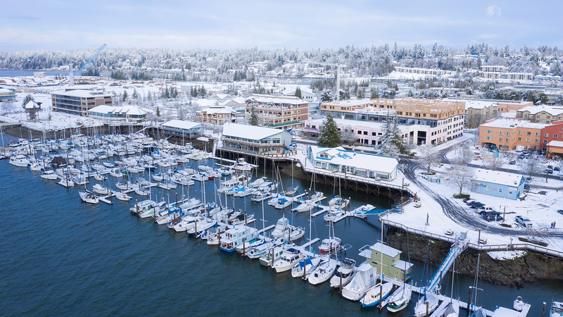 The Cool Blues Of The Olympia Marina Dressed In Snow