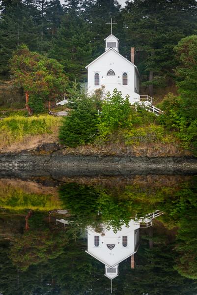 The Stunning Reflections Of The Roche Harbor Church, San Juan Islands, WA
