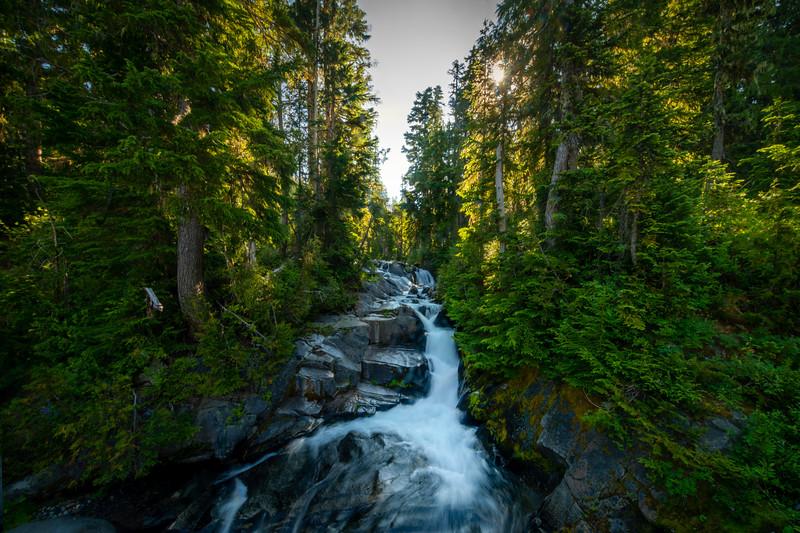 Cascading Falls Near Reflection Lakes - Mount Rainier National Park, WA
