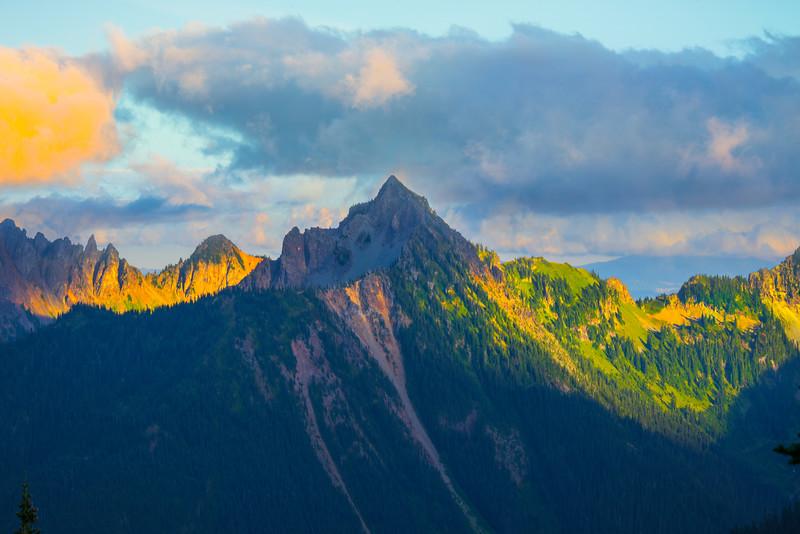Last Light On Peaks - Mt Rainier National Park, WA