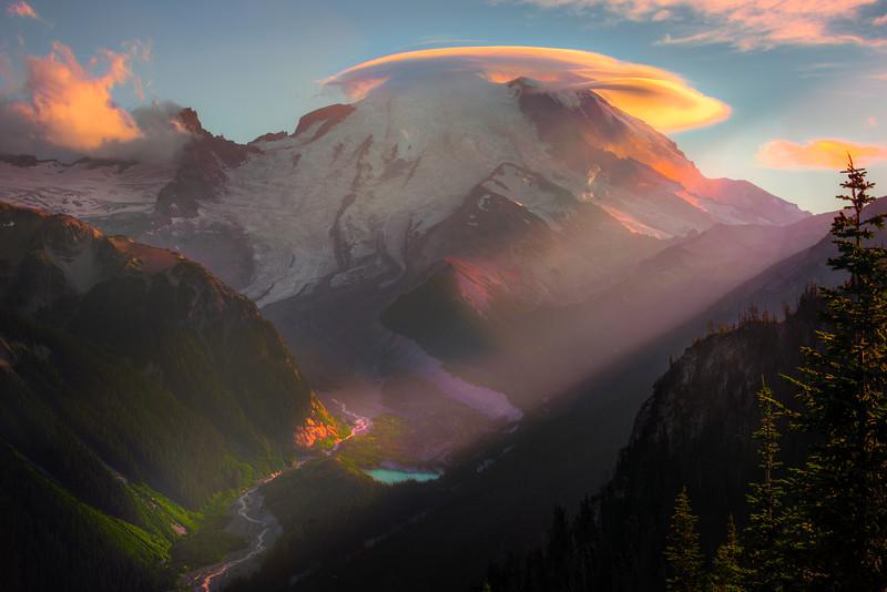 Mt Rainier Lenticular With Sunset Shaft - Mt Rainier National Park, WA
