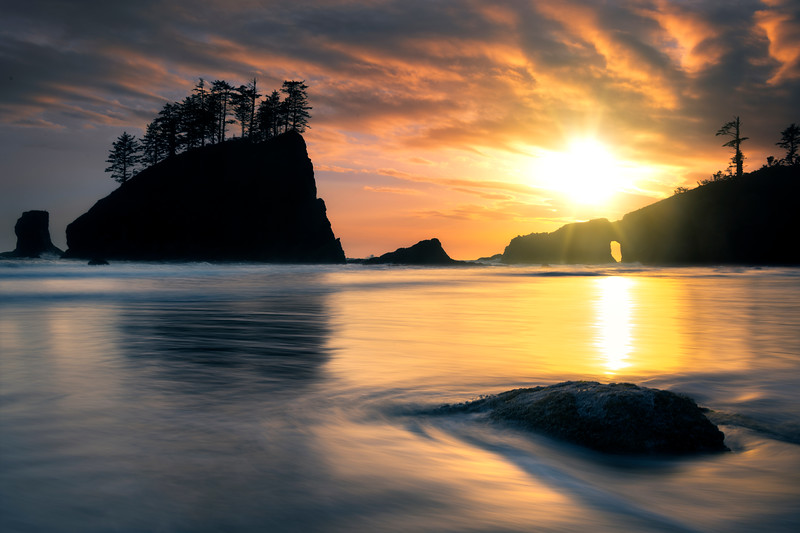 Sun Glowing Through The Clouds At Second Beach - Second Beach, Olympic National Park, Washington