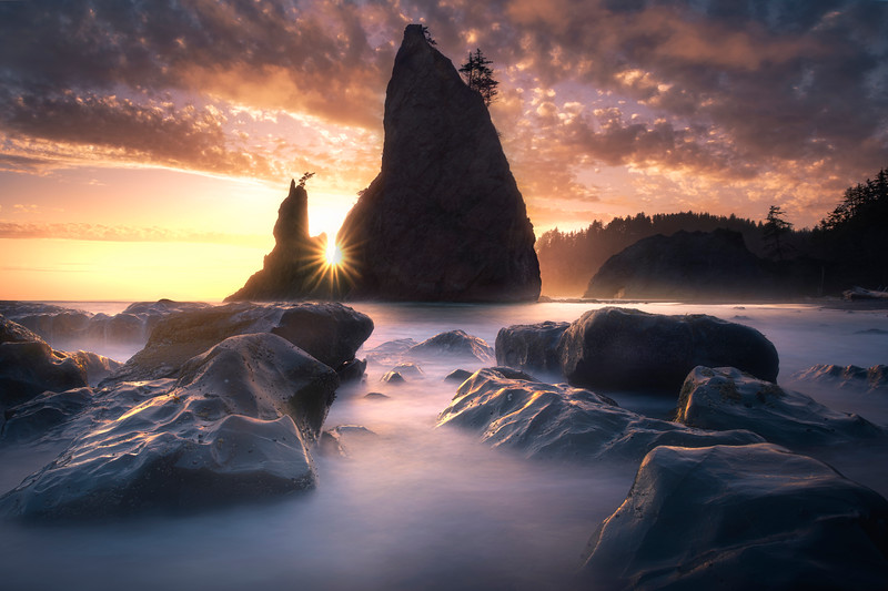 Long Exposure Tides Moving In -    Rialto Beach, Olympic National Park, Washington