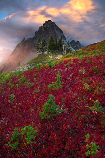 Sunset Rain Showers Over Peak On Pinnacle Pinnacle Peak Trail, Plummer Peak, Mt Rainier National Park, WA