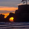 Sunset Red Peeking Through Hole - Olympic Peninsula, Washington
