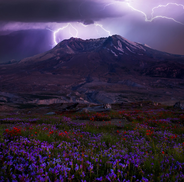 Mt St Helens Lightning -  Mount St Helens National Volcanic Monument, Washington